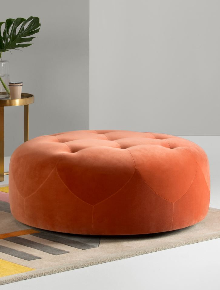 Scott Round Ottoman Burnt Orange Cotton Velvet Ottoman In