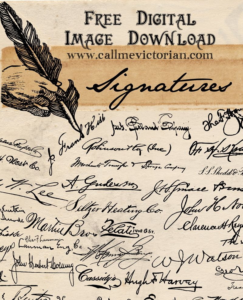 Free Collection Of Old Fashioned Script Handwritten Signatures