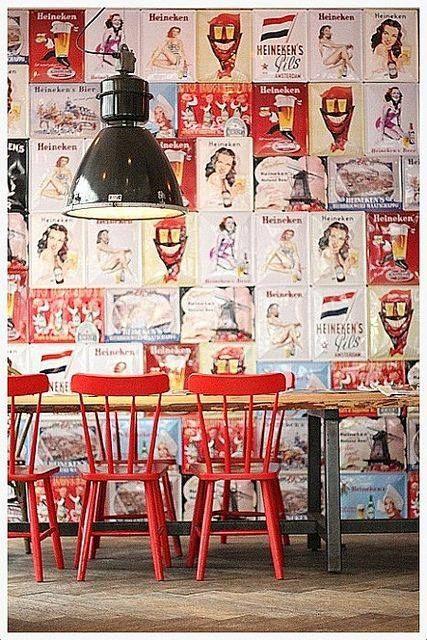 cuisine kitchen rouge red avec style industriel et papier peint ...