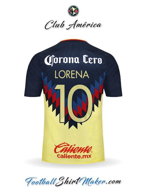 e8e7a9d0af8 Camiseta Club America 2017/2018 Lorena 10 Crear Camisetas De Futbol,  Uniformes De Futbol
