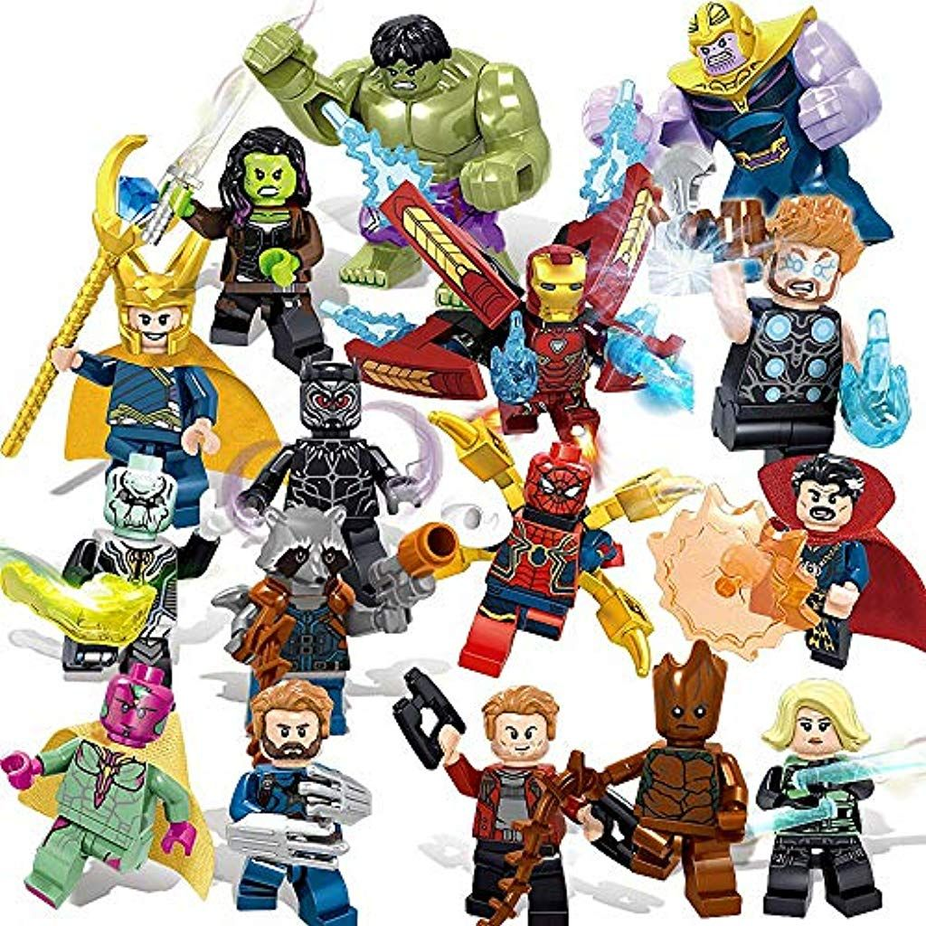 Durojrw 16 Stucke Minifiguren Superhelden Set Mit Zubehor