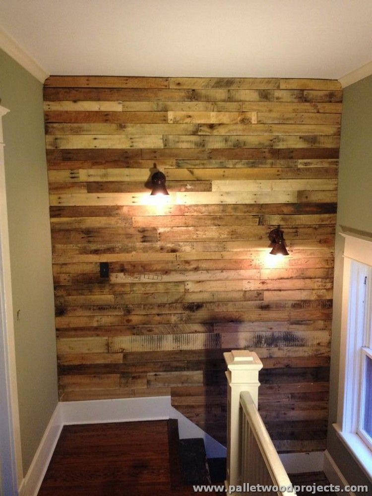 Accent Wall Made Out Of Pallets Pallet Wall Decor Diy Pallet