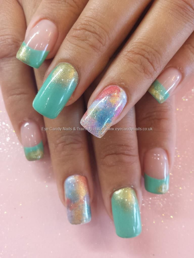 Mint green gel polish with multi colour fade | Nail art | Pinterest ...
