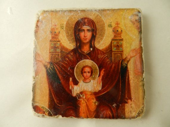 Religious icon theotokos greek virgin mary jesus icon rustic stone plaque handmade religious decor