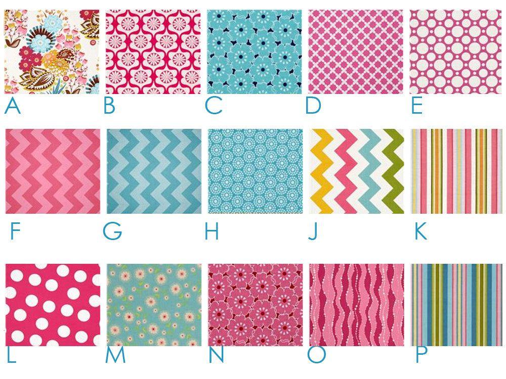 LOU LOU'S FLOWERS - Pink and Aqua - Chevron - Custom Crib Bedding Set - Blanket, Fitted Sheet, Crib Skirt - Teal, Turquoise. $185.00, via Etsy.