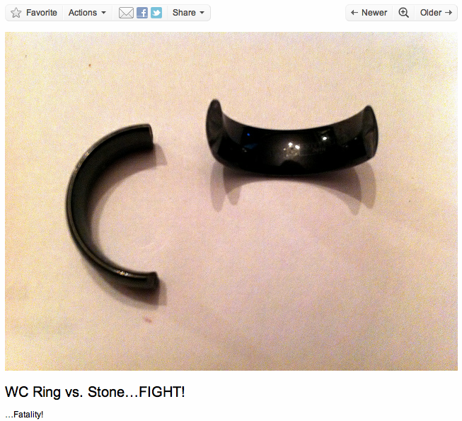 Tungsten carbide bands can sometimes break. please sign