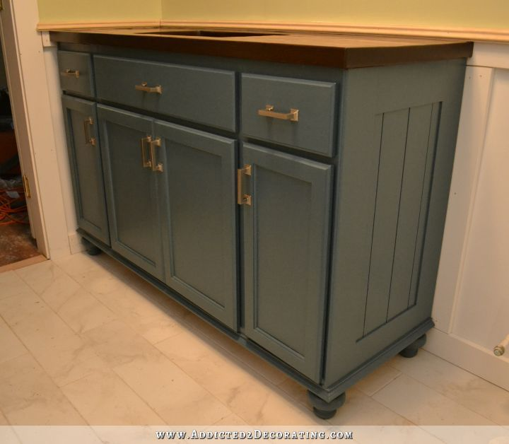 Kitchen Island Using Stock Cabinets: Teal Furniture-Style Vanity Made From Stock Cabinets