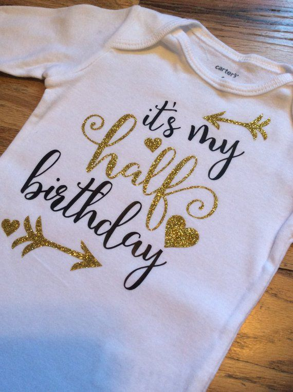 Half Birthday Onesie 1 2 Shirt Gold Glitter Black Arrows Hearts Baby