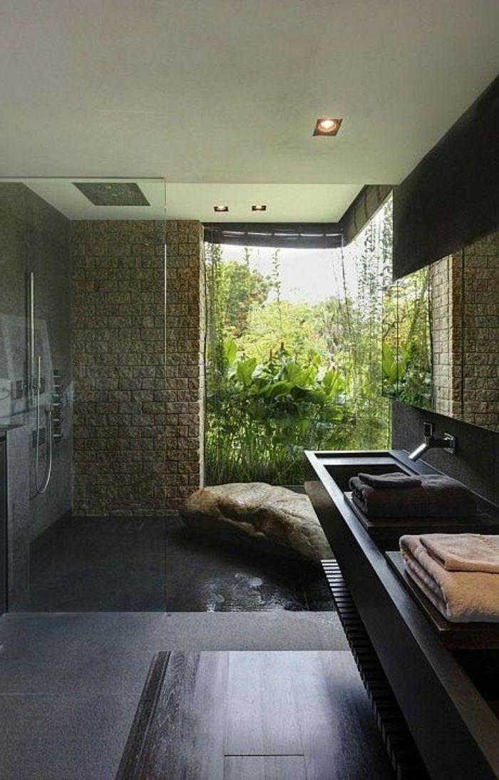 schöne bäder mit naturmaterialien und großem fenster | badezimmer, Innenarchitektur ideen