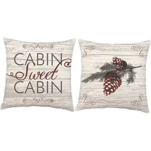 Cabin Sweet Cabin Throw Pillows Set Of 2 Throw Pillows Pillows Log Home Decorating