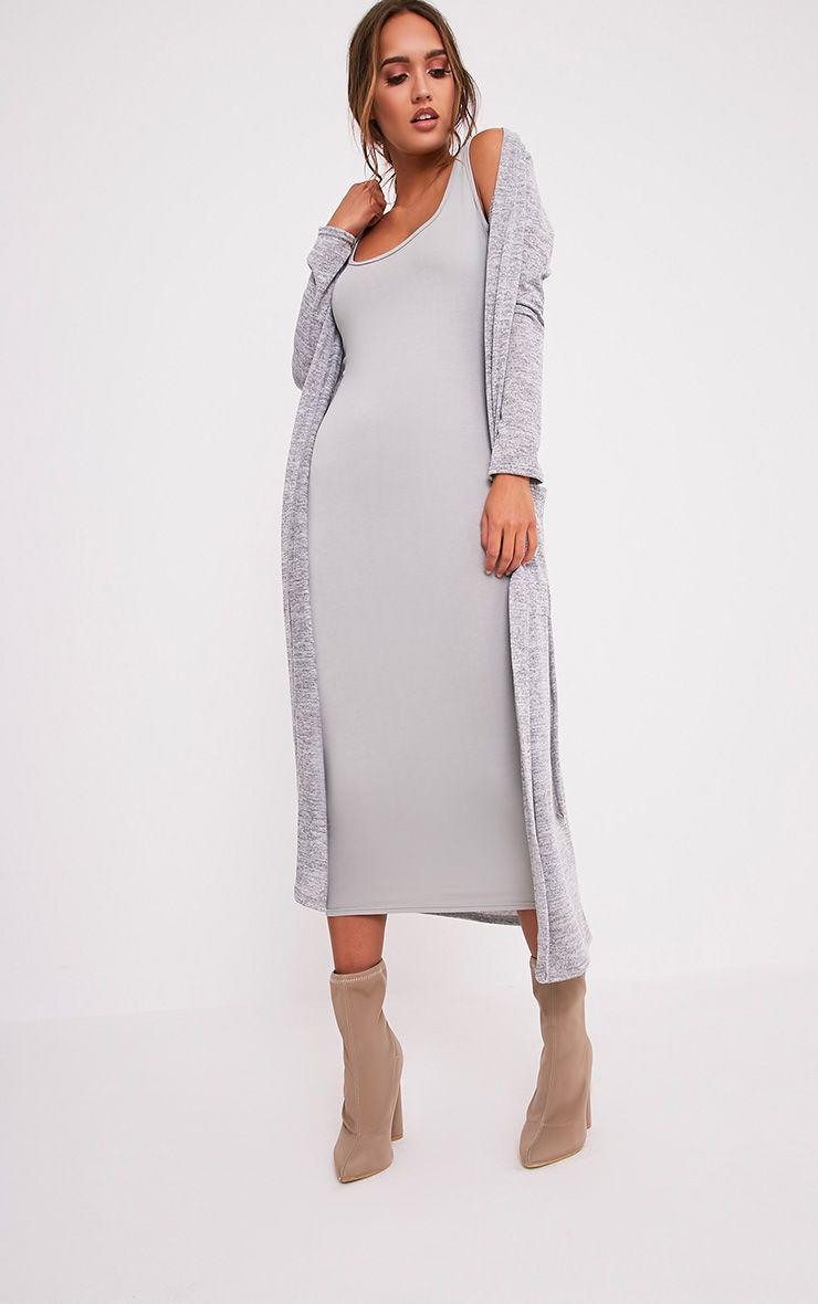 Liona Grey Belted Maxi Cardigan - Knitwear - PrettylittleThing ...