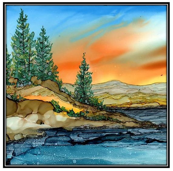Decoupage Print of Alcohol Ink painting on Ceramic Tile - one 6x6 Tile/ Trivet - Alcohol Inks- Decorative Tile- Mountain lake