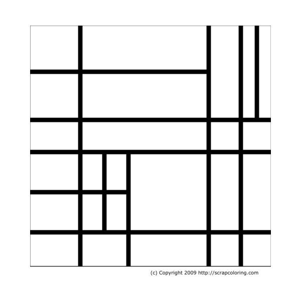 Composition in the style of Piet Mondrian coloring page in ...