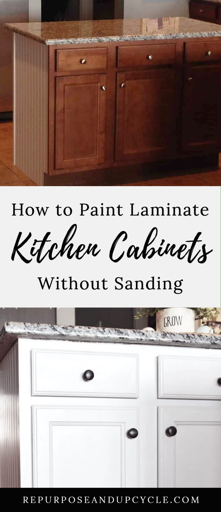 Painting Laminate Cabinets The Right Way Without Sanding Painting Laminate Kitchen Cabinets Laminate Cabinets Laminate Kitchen Cabinets