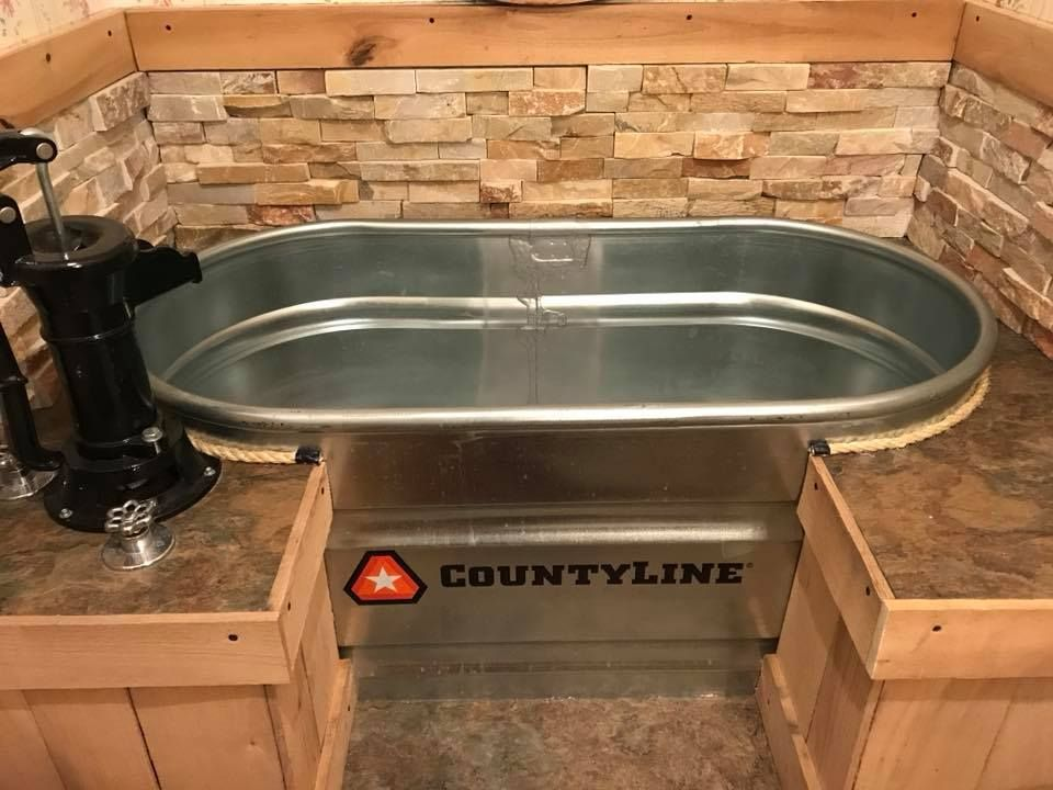 Stock Tank Bathtub Bathroom Remodel Via Amy Feeback