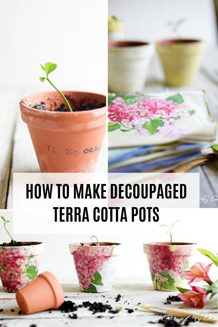 Info's : Ever wanted to decoupage your potted plants but have no idea how? See how EASY it is to change up your planters! #Decoupage #PottedPlants