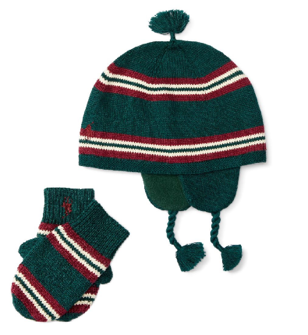 Hats 163224  Ralph Lauren Baby Boy S Striped Combed Cotton Hat And Mittens  Set O S (9M 24M) -  BUY IT NOW ONLY   39.99 on eBay! 450a9b94be7