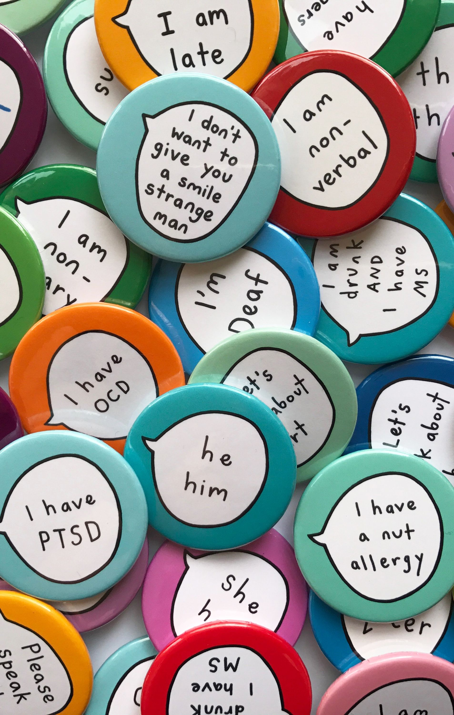 You pick - 6 pins in 2019 | Stuff We Love | Pin badges, Badge design