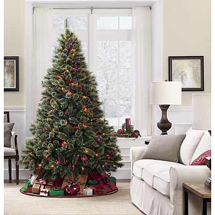 Jaclyn Smith 7.5' Edison Cashmere Spruce Christmas Tree with 600 Multi  Lights - Jaclyn Smith 7.5' Edison Cashmere Spruce Christmas Tree With 600