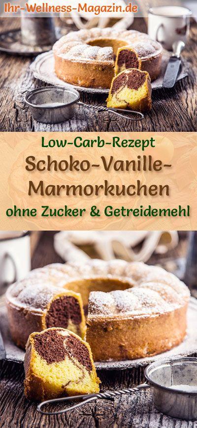 Saftiger Low Carb Schoko-Vanille-Marmorkuchen - Rezept ohne Zucker