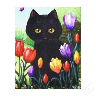 Tulips are the purrfect hiding place.
