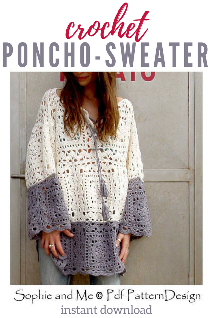 Pretty boho style poncho sweater crochet pattern. #crochetpatterns ...