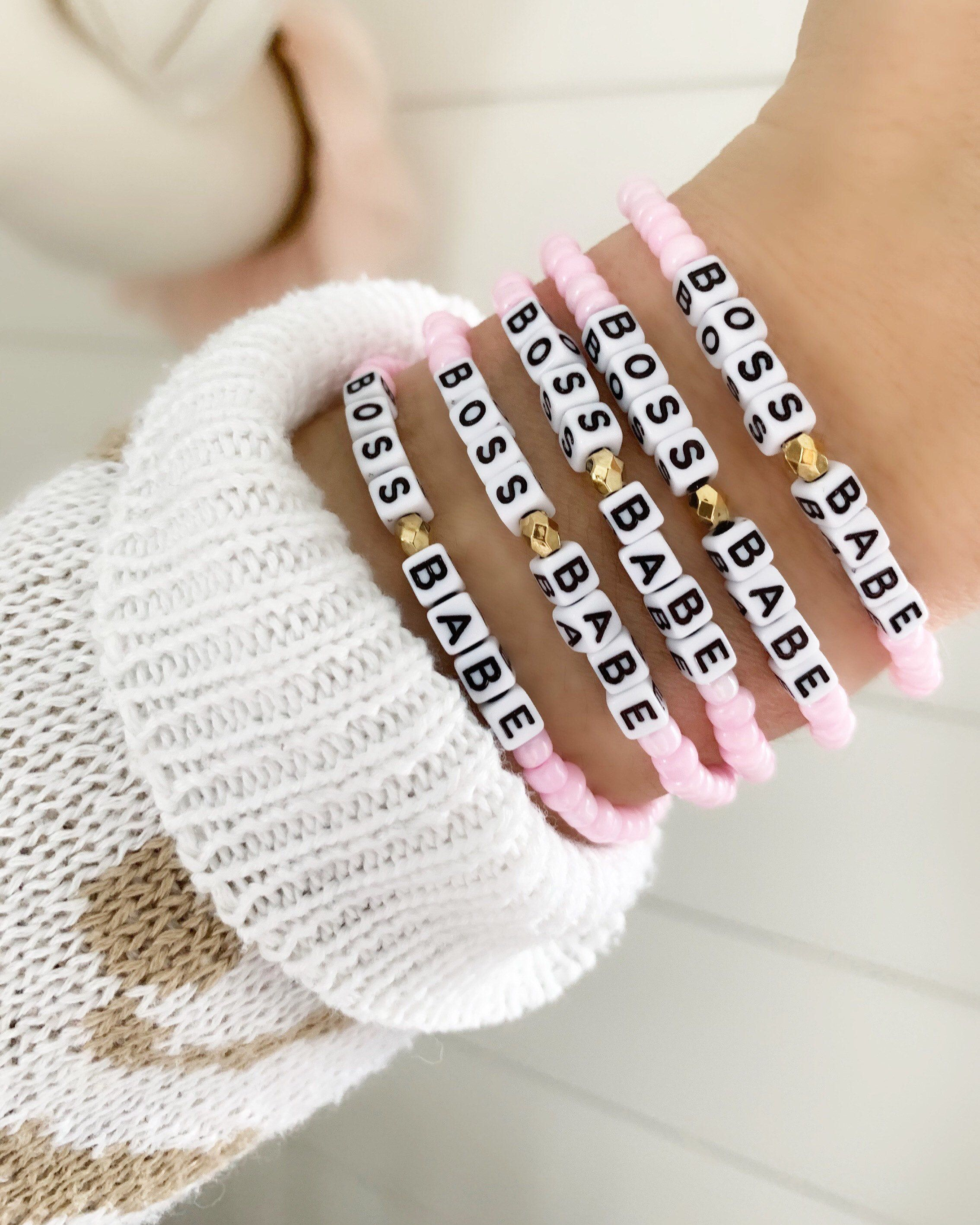 Name Motto Bracelet personalize Model Cutie Adjustable with Beads and Crochet Mini Flower
