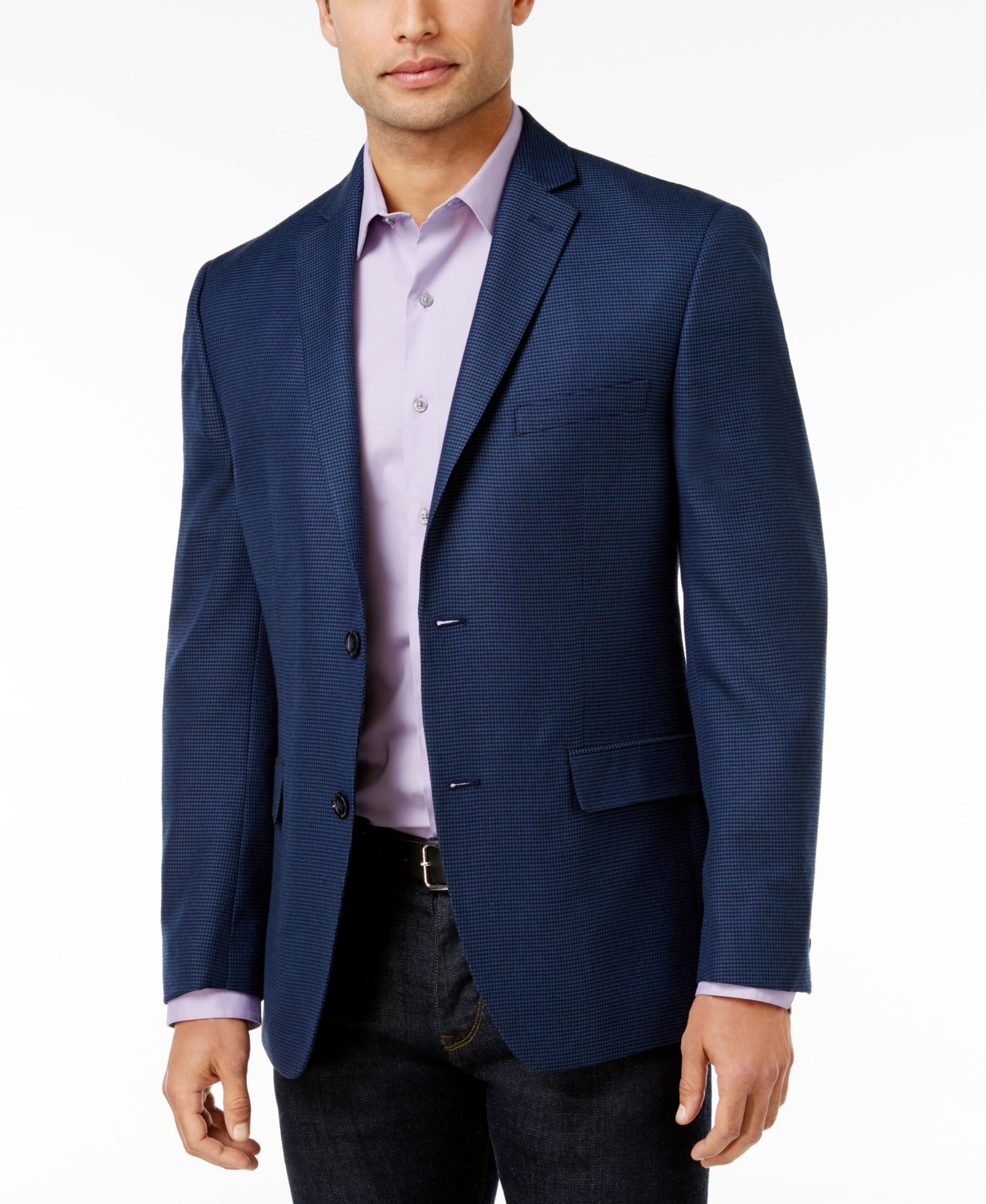 5fc71954f9f8 Alfani Men's Slim-Fit Soft Navy Houndstooth Jacket, Only at Macy's ...