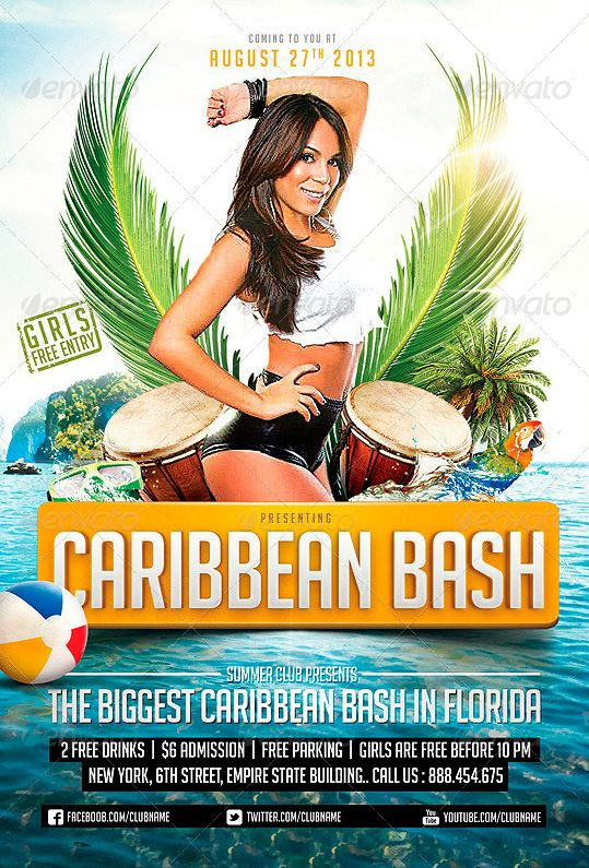 Caribbean Party Flyer Template