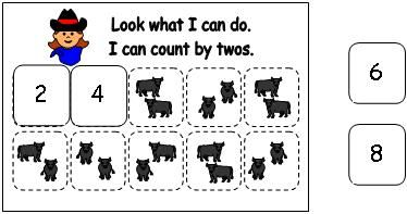 Cowboy Count by two activity from Making Learning Fun