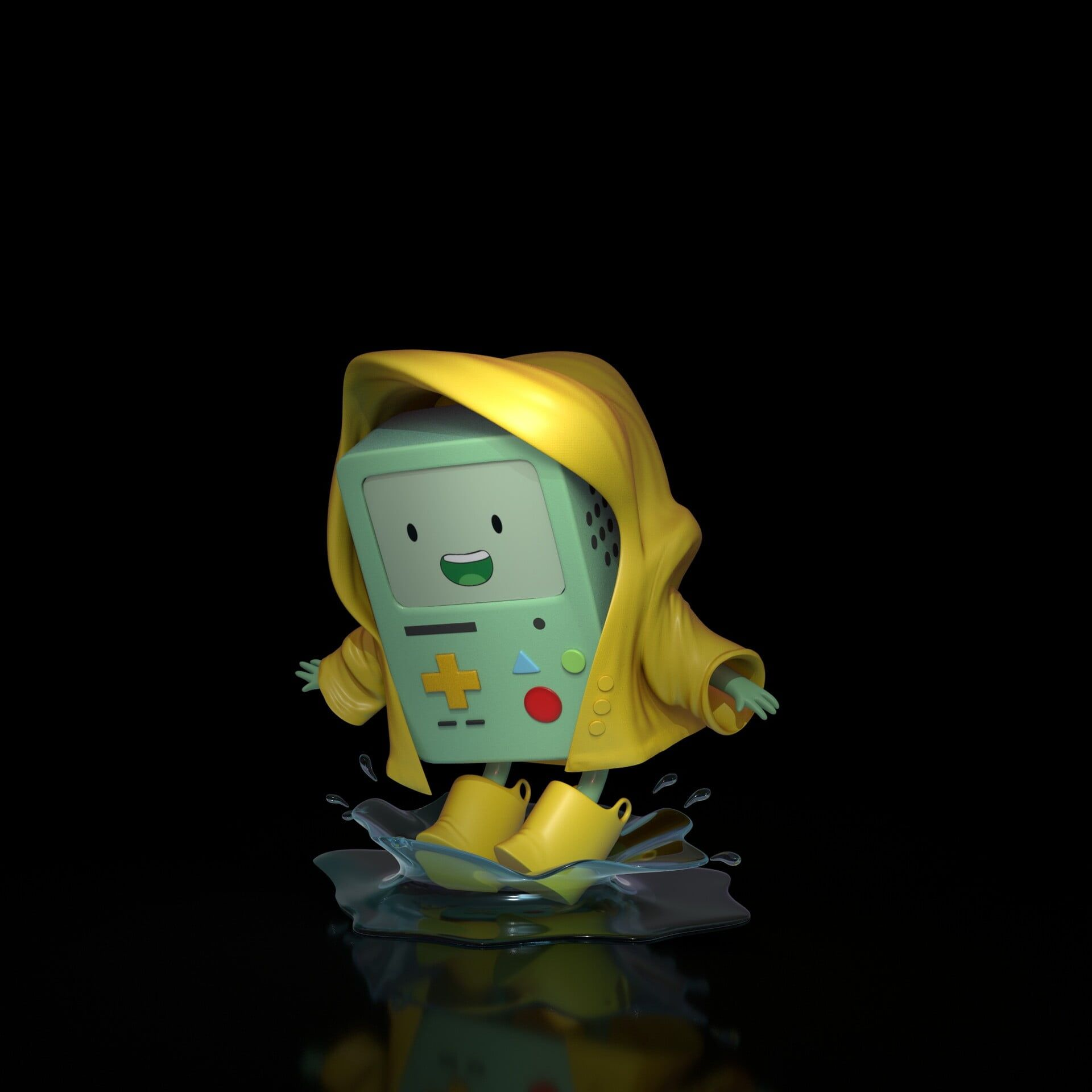 Adventure Time Simple Background Puddle Console Bmo Smiling Fan Art Digital Art 1080p Wallpape In 2020 Adventure Time Wallpaper Simple Backgrounds Adventure Time