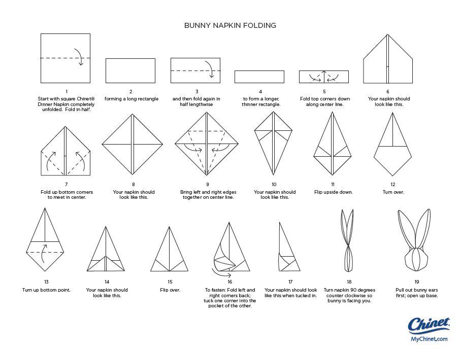Bunny napkin fold pliage serviette lapin pliage serviette et serviettes - Pliage serviette lapin simple ...