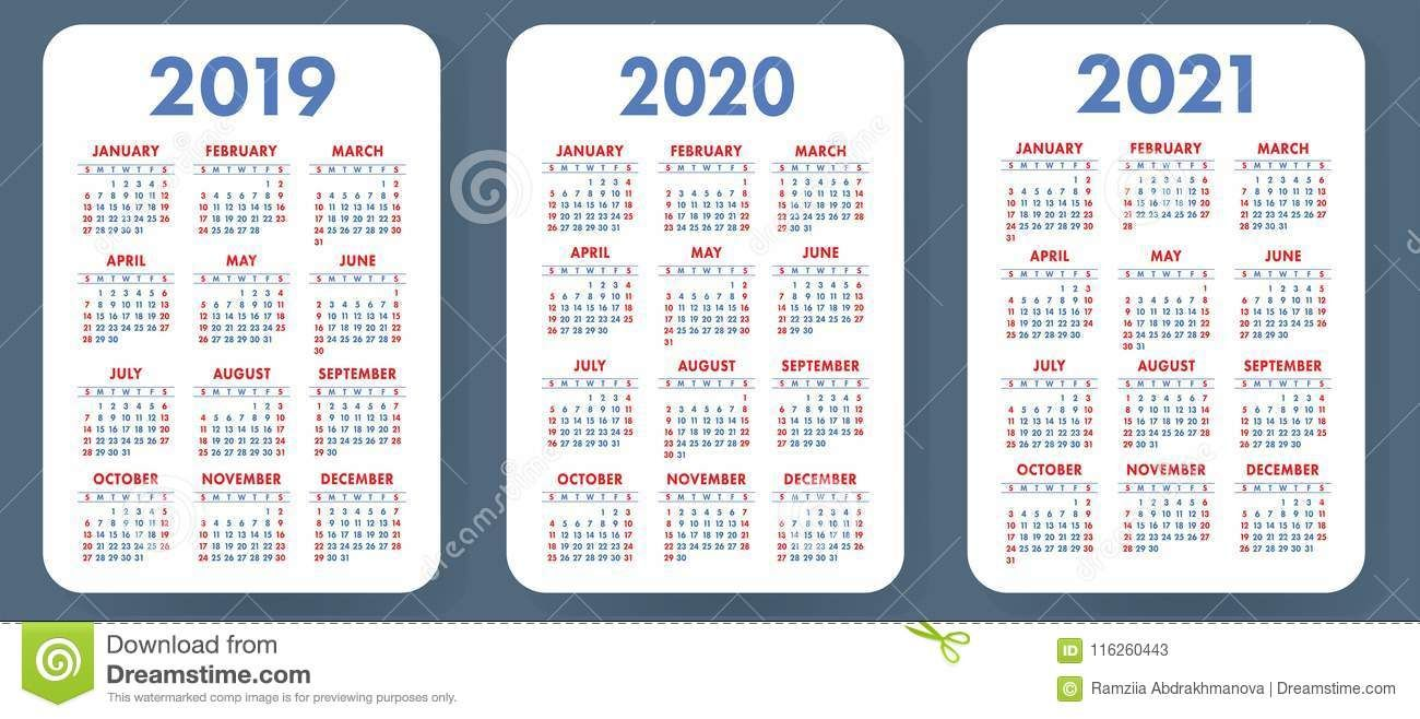 Illustration About Pocket Calendar 2019 2020 2021 Set Basic Simple Template Week Starts On Sunday Pocket Calendar Calendar Template Calendar 2019 And 2020