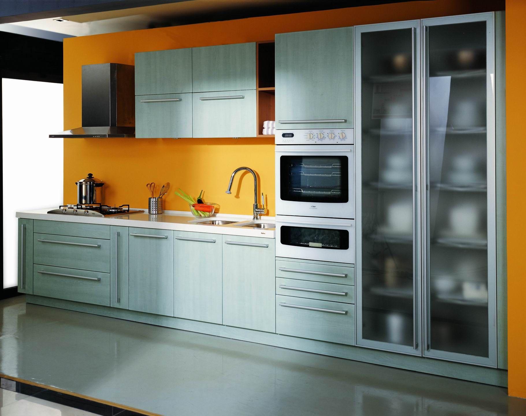 Home design chinese kitchen design - Fancy Kitchen Design Orange Backsplash Design Your Own Kitchen Combined With Glass Door Cabinet In Grey Color Decoration