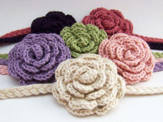 Diadema con flor (rosa), en crochet. | tejido | Pinterest ...