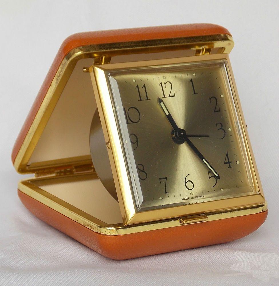 Vintage retro fold up mechanical travel alarm clock ...