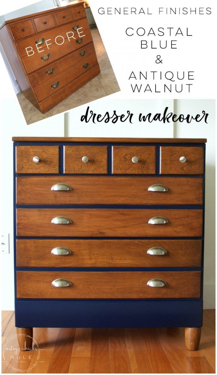 Coastal Blue U0026 Antique Walnut Gel Stain Dresser | Dresser, Coastal And Paint  Furniture
