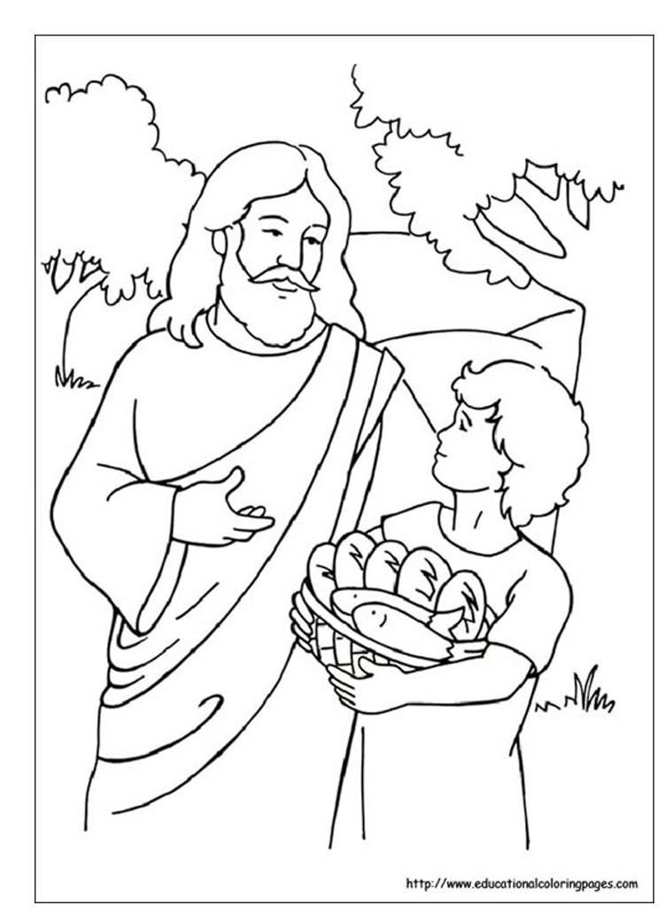 Coloring page of Jesus feeding more than five thousand ...