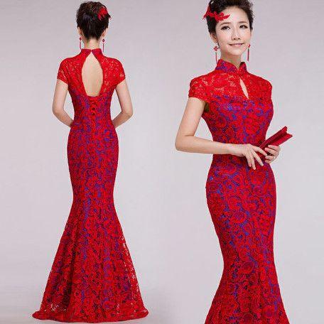 401d6c8ec Red lace blue lined mandarin collar modern qipao floor length mermaid  Chinese cheongsam bridal wedding dress 001