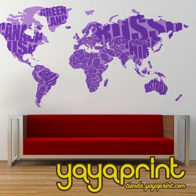 Vinilo pared planeta tierra continentes paises vinilos for Vinilos decorativos juveniles nina