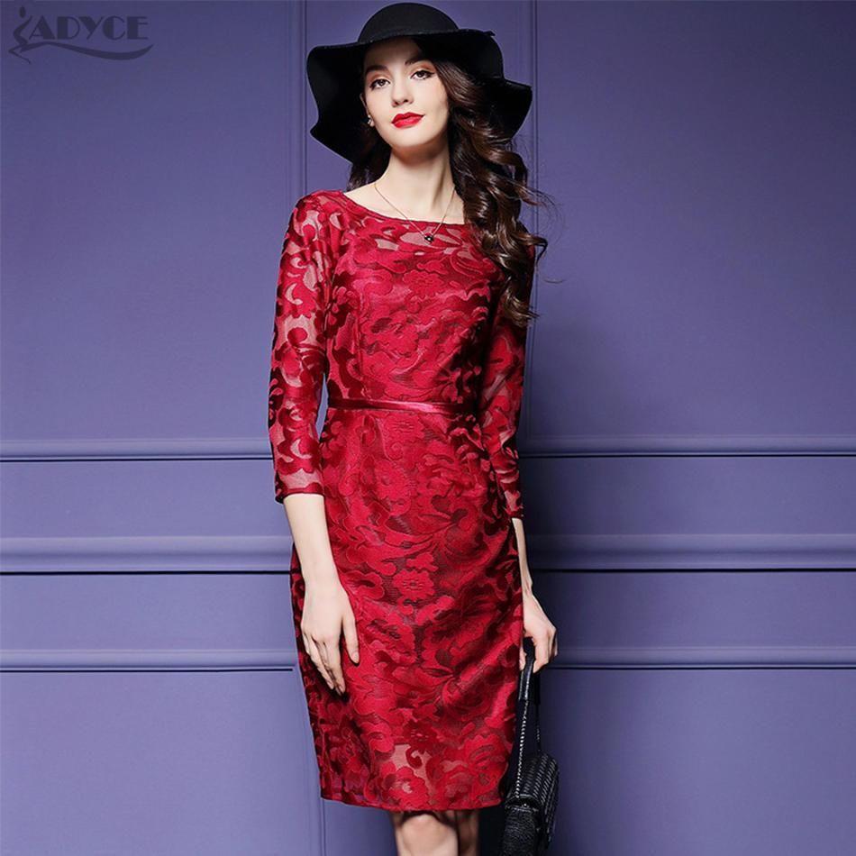 2017 Celebrity Runway Black Lace Dress Women Party Bodycon Dress Red ...