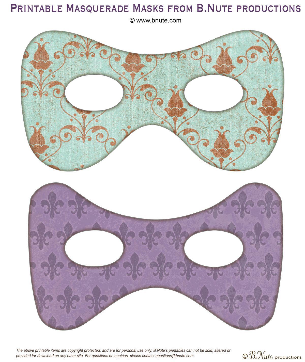 Masquerade ball masks free party printables kids for Masquerade ball masks templates