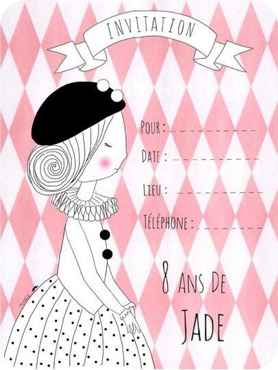 Très carton invitation anniversaire jade 8 ans | anniversaire Alice  YS53