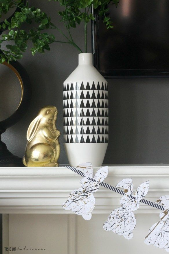 diy splatter paint bunny garland chic simple easter mantel this is our bliss