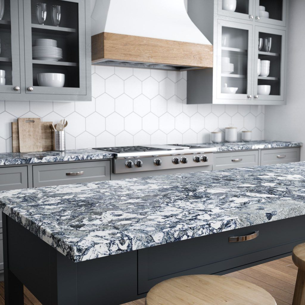 One Of Six Bold Quartz Countertop Designs From Cambria Islington A Dramatic Sea Of N Countertop Design Quartz Kitchen Countertops Cambria Quartz Countertops