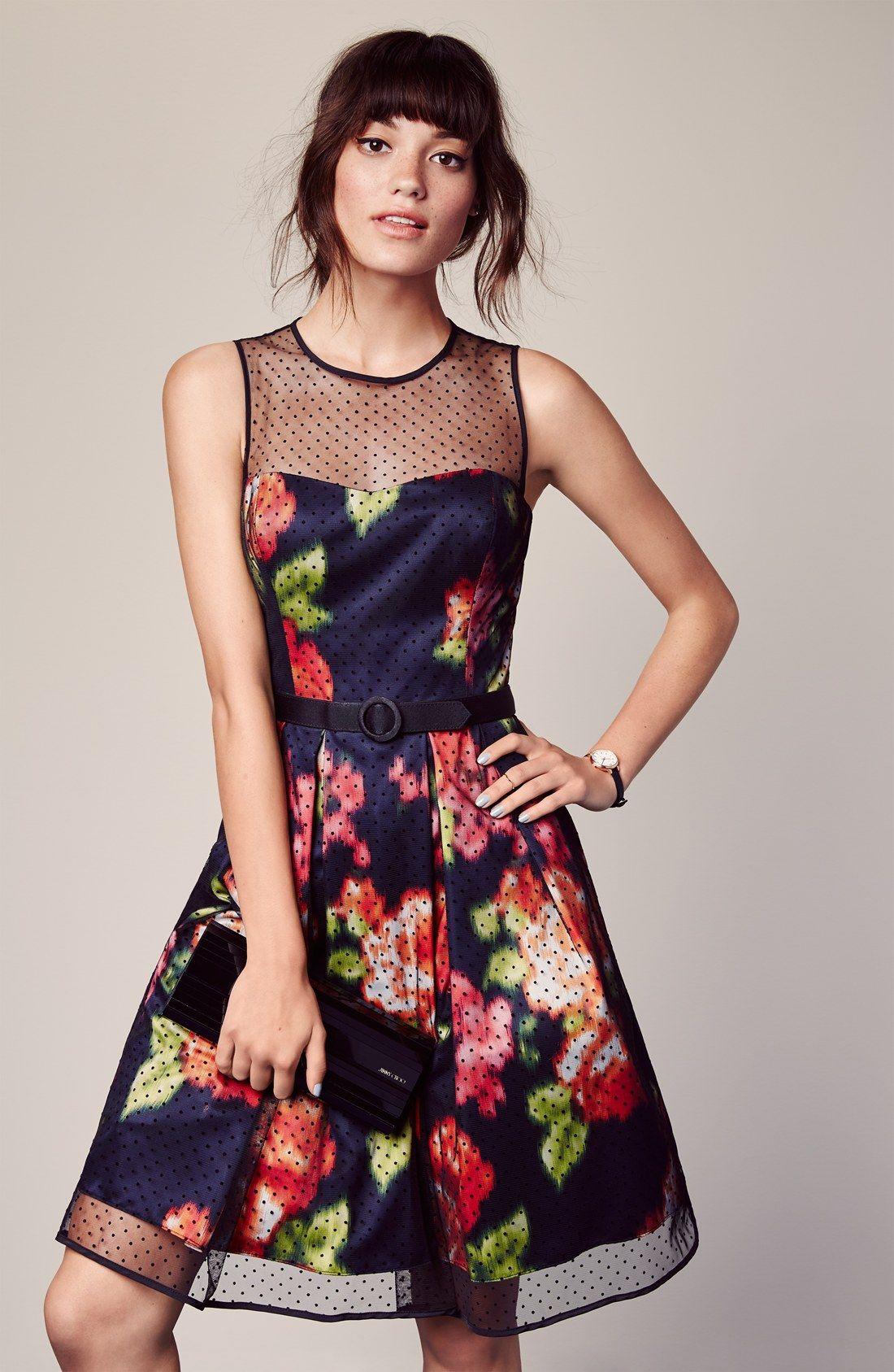 Eliza J Dot Mesh Overlay Charmeuse Fit & Flare Dress   Gowns   Pinterest