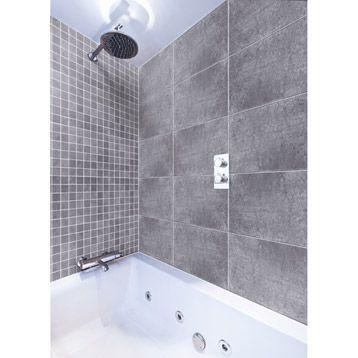 carrelage int rieur en gr s c rame maill vestige gris 30x60cm leroy merlin ceramique. Black Bedroom Furniture Sets. Home Design Ideas