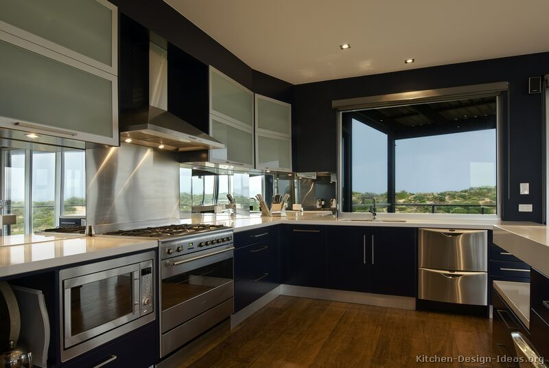 Modern Kitchen Of The Day: A Deep Blue Kitchen With An Amazing View!