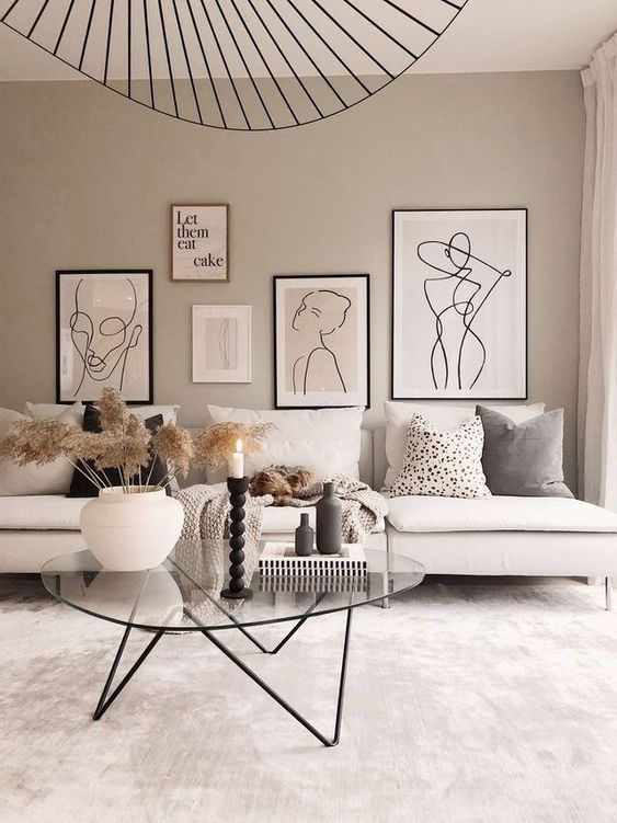 Love This Scandi Living Room With Statement Ceiling Light And Beautiful Line Drawings Such A Ca Scandi Living Room Living Room Lounge Living Room Scandinavian