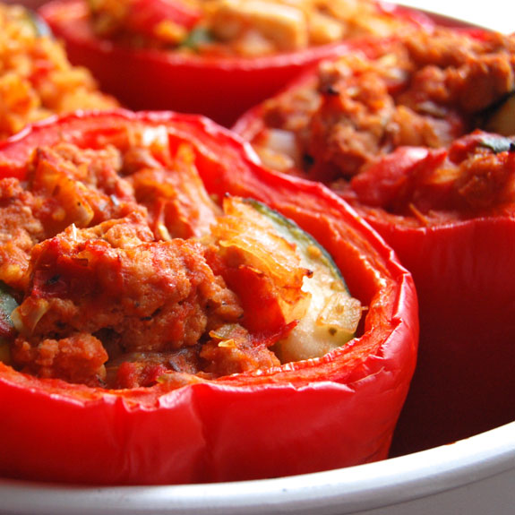 Roasted Paleo Stuffed Bell Peppers #stuffedbellpeppers